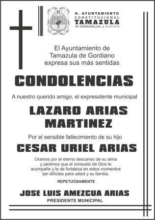 condolencia tamazula